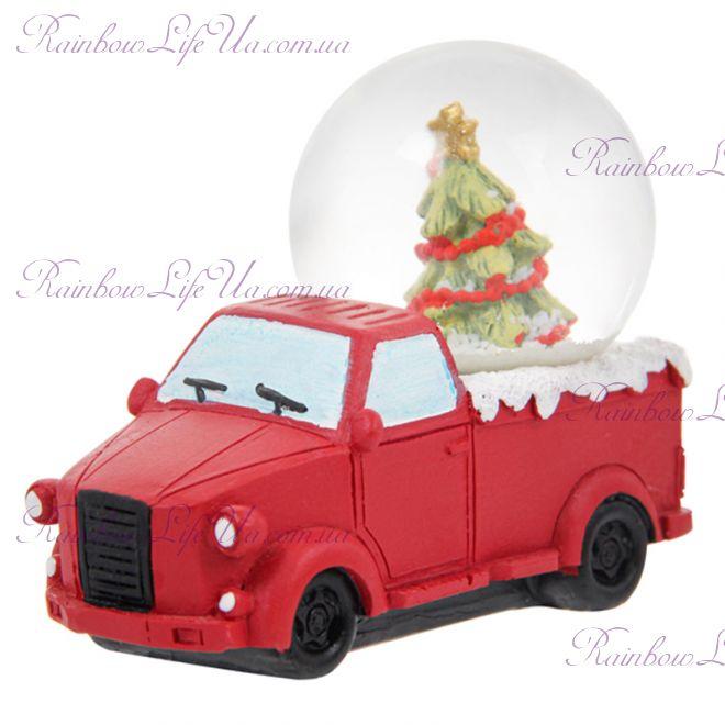 """Снежный шар стеклянный """"Машина с елкой"""""""