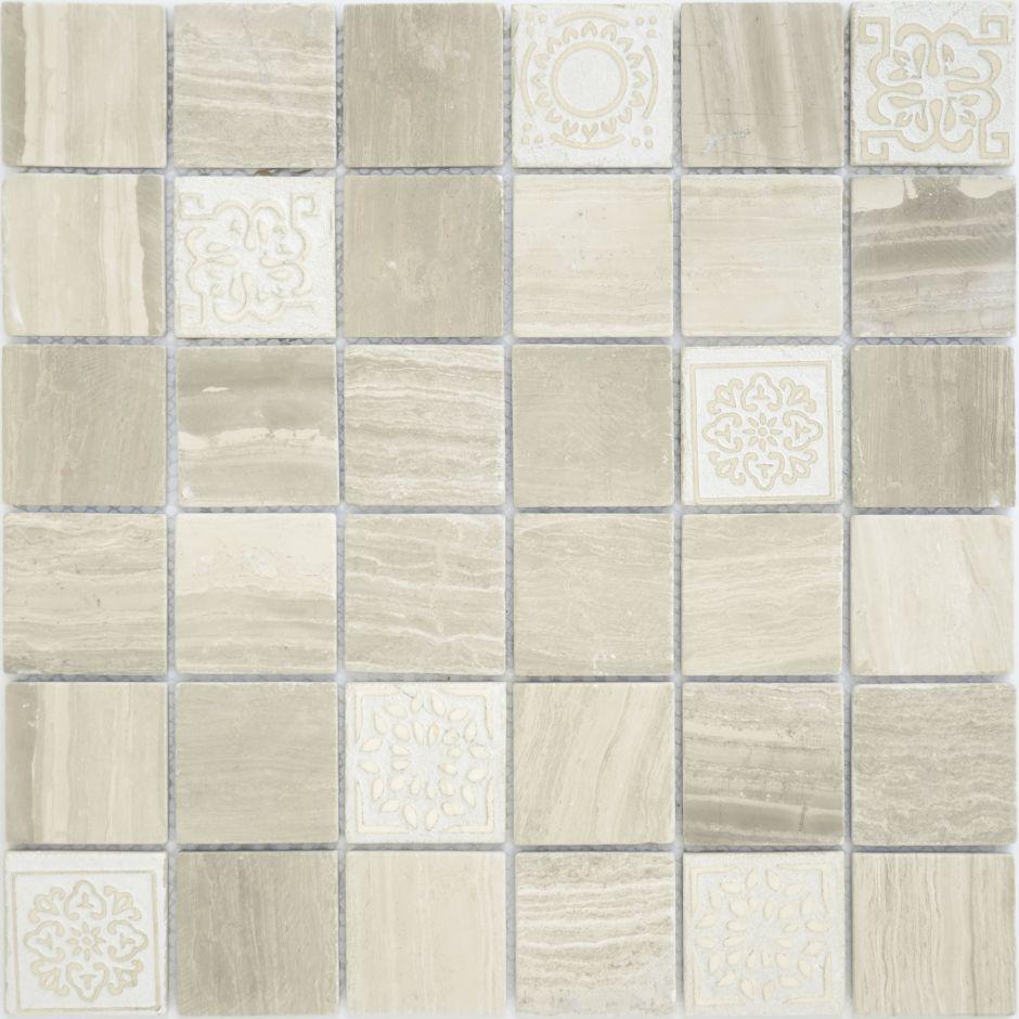 Мозаика LeeDo: Art Travertino silver матовая 48х48х8 мм