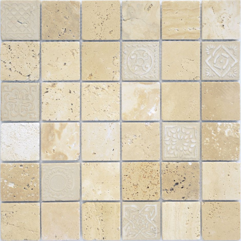 Мозаика LeeDo: Art Travertino beige матовая 48х48х8 мм