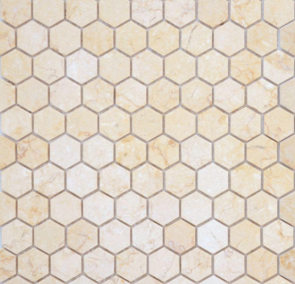 Мозаика LeeDo: Pietrine Hexagonal - Botticino матовая 18х30х6 мм