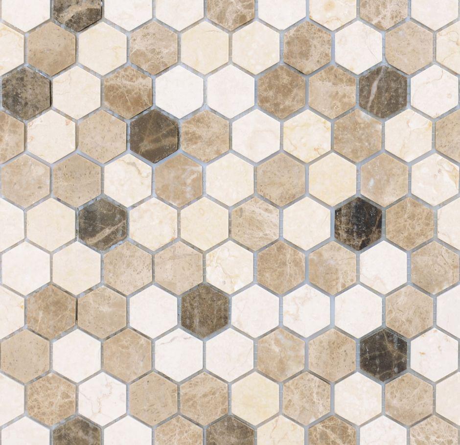 Мозаика LeeDo: Pietrine Hexagonal - Pietra Mix 1 матовая 18х30х6 мм