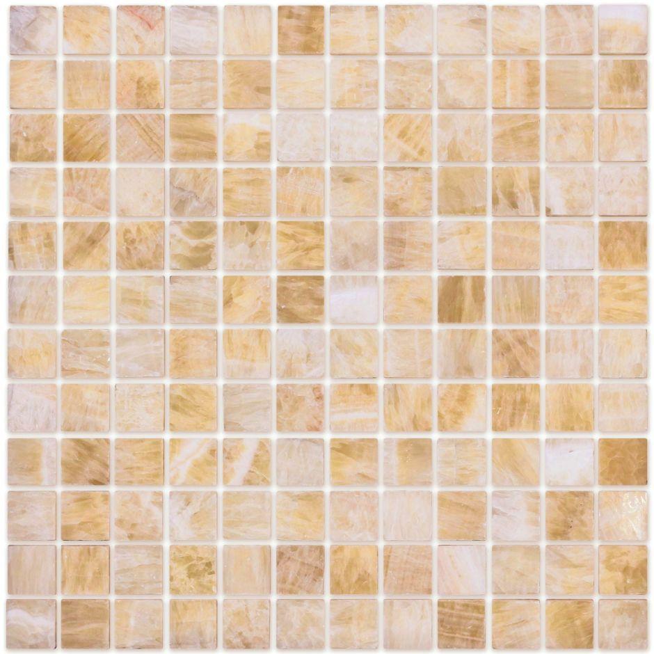 Мозаика LeeDo - Caramelle: Pietrine - Onice Beige полированная 23х23х7 мм