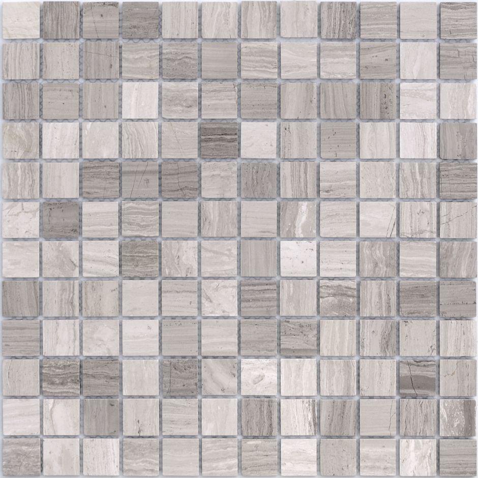 Мозаика LeeDo - Caramelle: Pietrine - Travertino Silver полированная 23х23х7 мм