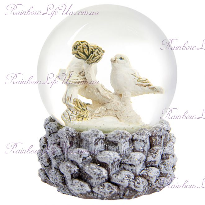 "Снежный шар стеклянный ""Птичка"""