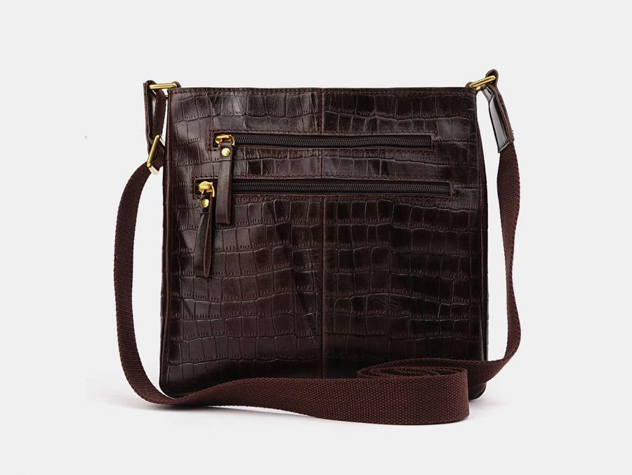 "Кожаная мужская сумка через плечо Alexander-TS ""P0005 Brown Croco"""