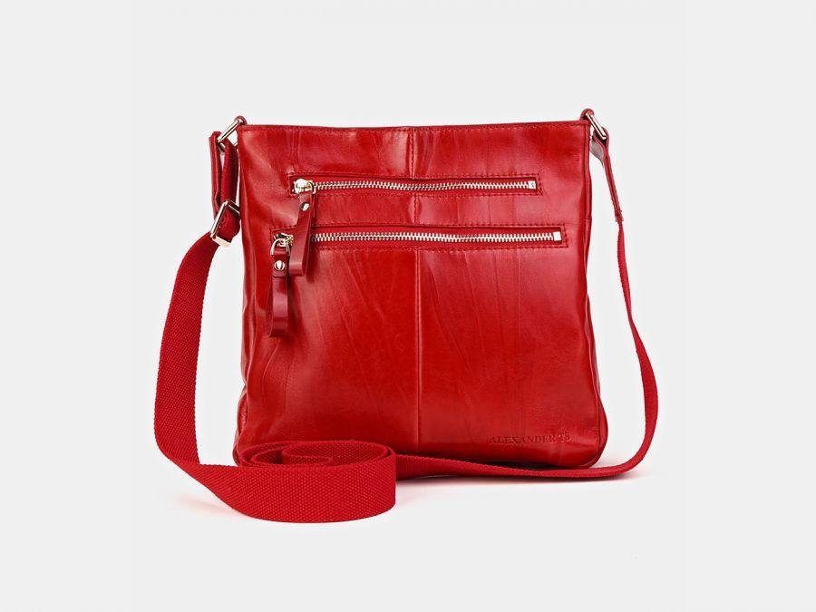 """Кожаная женская сумка через плечо Alexander-TS """"P0005 Red"""""""