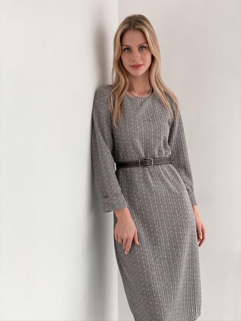 s3018 Платье-кокон из трикотажа в крапинку серое