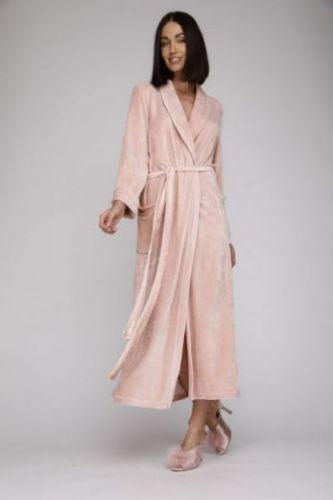 Женский велюровый халат Passion пудра