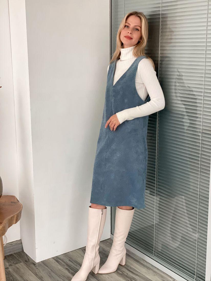 s3022 Сарафан вельветовый серо-голубой