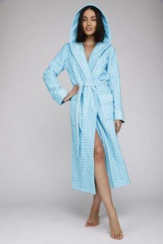 Женский махровый халат с капюшоном Ultra Doux бирюзовый