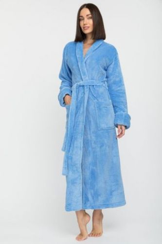 Женский удлиненный пушистый халат из велсофта Tendre голубой