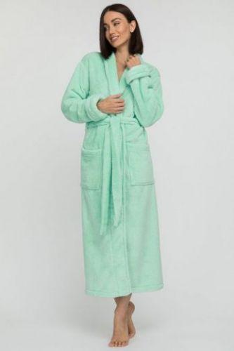 Женский удлиненный пушистый халат из велсофта Tendre мятный