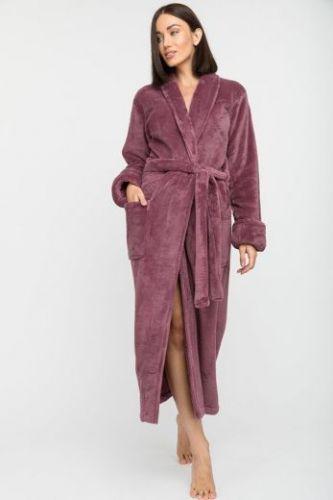 Женский удлиненный пушистый халат из велсофта Tendre брусника