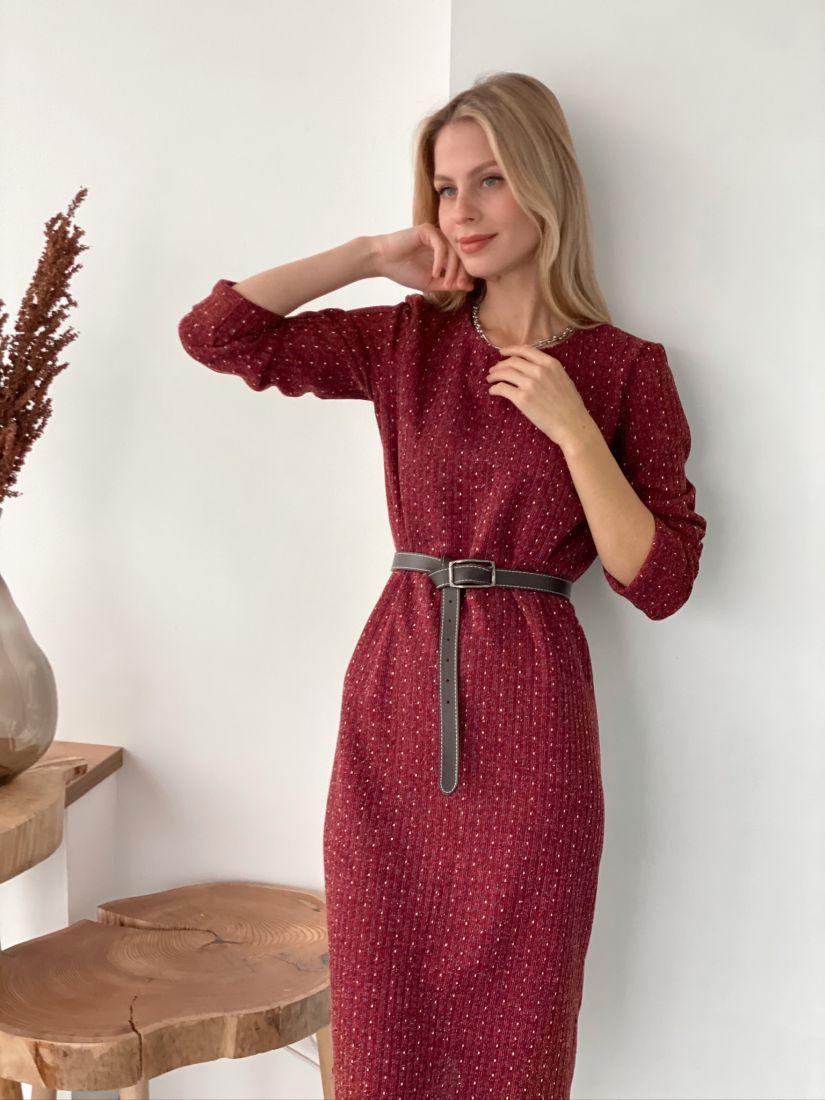 s3026 Платье-кокон из трикотажа в крапинку бордовое