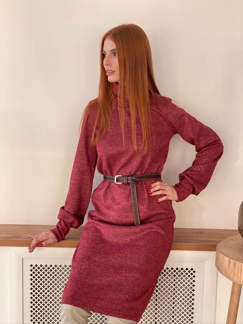 s3031 Платье-свитер с объёмными рукавами