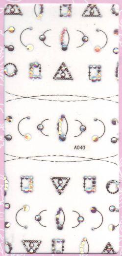 3D СТИКЕРЫ, наклейки объёмные для дизайна ногтей A040