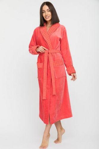 Женский махровый халат с шалькой Ultra Doux коралловый