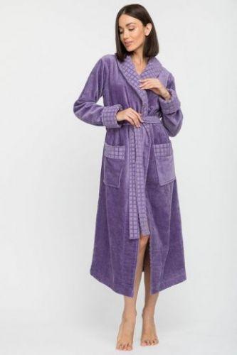 Женский махровый халат с шалькой Ultra Doux сиреневый