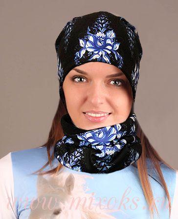 "Шапка, шарф-повязка, варежки ""Гжель"""