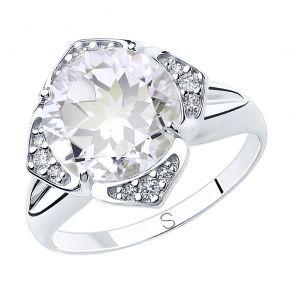 Кольцо из серебра с горным хрусталем и фианитами 92011817 SOKOLOV