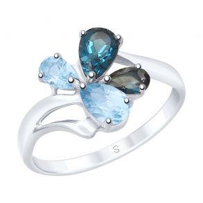 Кольцо из серебра с голубыми и синими топазами 92011824 SOKOLOV