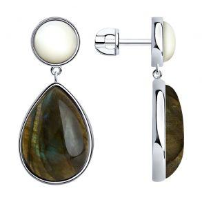 Серьги из серебра с полудрагоценными вставками 83020135 SOKOLOV