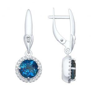 Серьги из серебра с синими топазами и фианитами 92021876 SOKOLOV