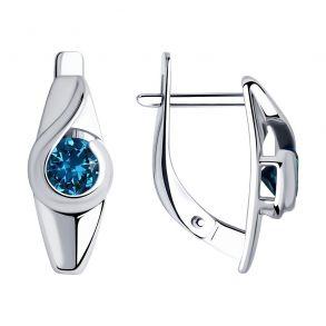 Серьги из серебра с синими топазами 92021998 SOKOLOV