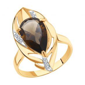 Кольцо из золота с раухтопазом и фианитами 715855 SOKOLOV