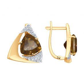 Серьги из золота с раухтопазами и фианитами 725174 SOKOLOV