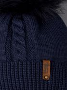 РБ 00-0022237 Шапка вязаная для мальчика с помпоном на завязках, на отвороте нашивка baby boss, темно-синий