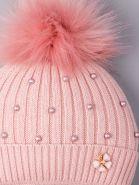 РБ 00-0021837 Шапка вязаная для девочки с помпоном на завязки, лапша, жемчуг, цветочек, тускло-розовый