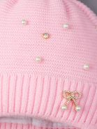 РБ 00-0022024 Шапка вязаная для девочки с бубоном на завязках, на отвороте бантик с бусинками, светло-розовый