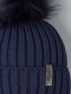РБ 22980 Шапка вязаная для мальчика с помпоном на завязках, лапша, нашивка winter, темно-синий