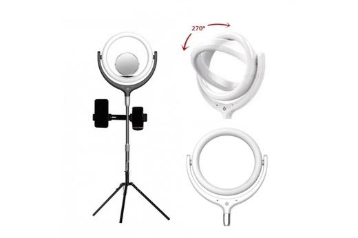Кольцевая селфи-лампа с держателями для смартфона, со штативом и зеркалом, диаметр лампы - 26 см