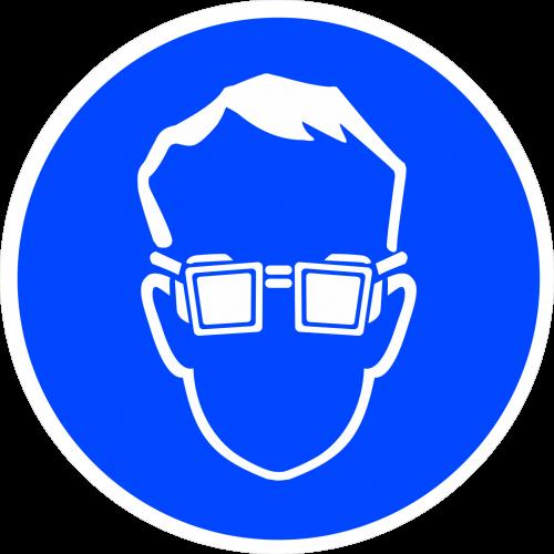 """Наклейка М01 """"Работать в защитных очках"""", ГОСТ, Айдентика Технолоджи"""
