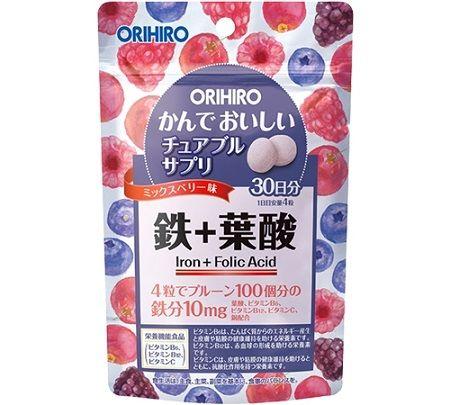 ORIHIRO Железо и фолиевая кислота на 30 дней (вкус лесных ягод)