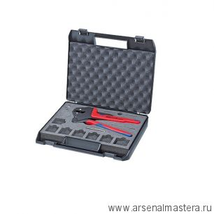 Инструмент для опрессовки системный, для сменных опрессовочных плашек в пластиковом чемодане KNIPEX 97 43 200