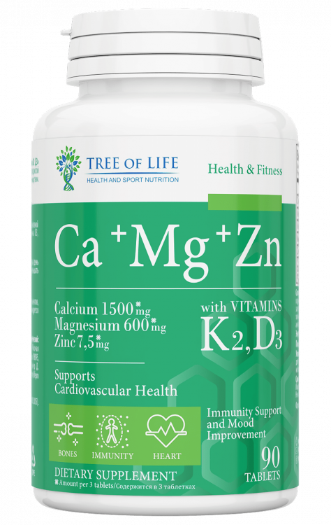 Ca+Mg+Zn with K2, D3 от Tree of Life 90 таб