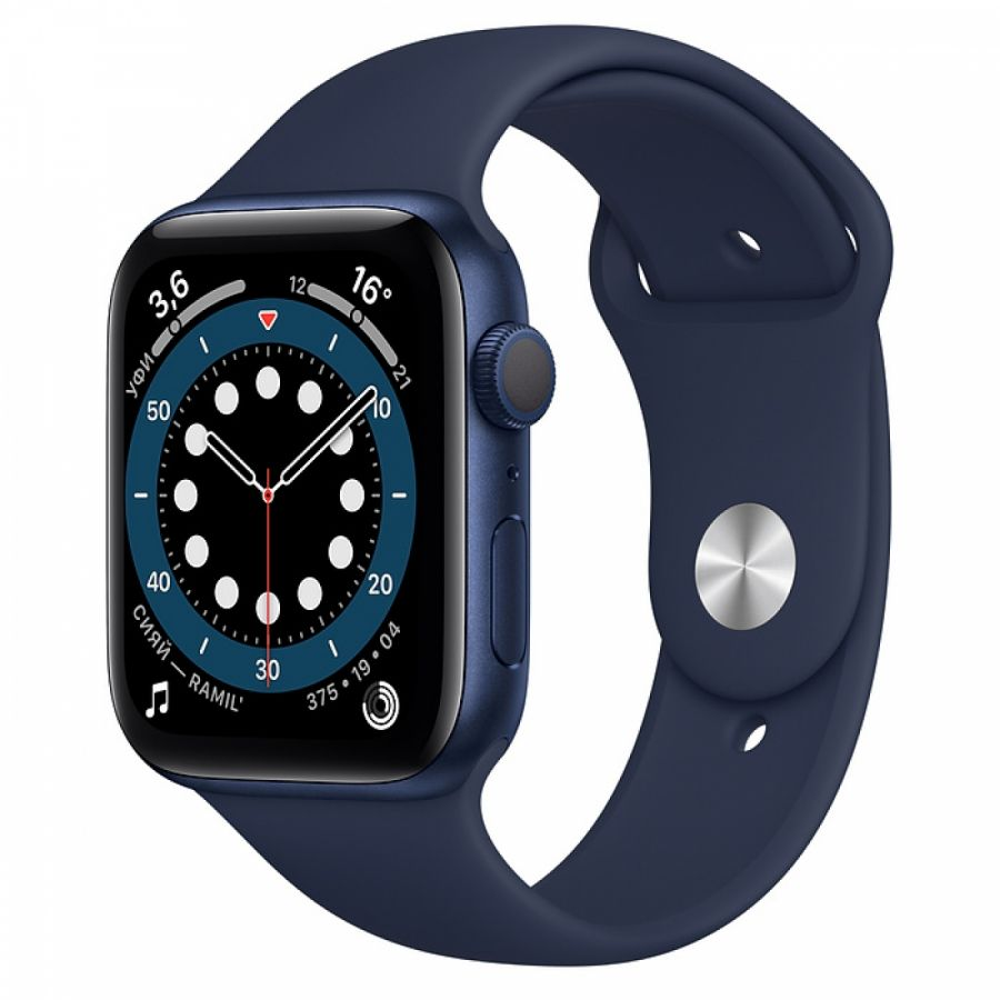 Apple Watch Series 6 44mm Blue Aluminum Case with Deep Navy Sport Band