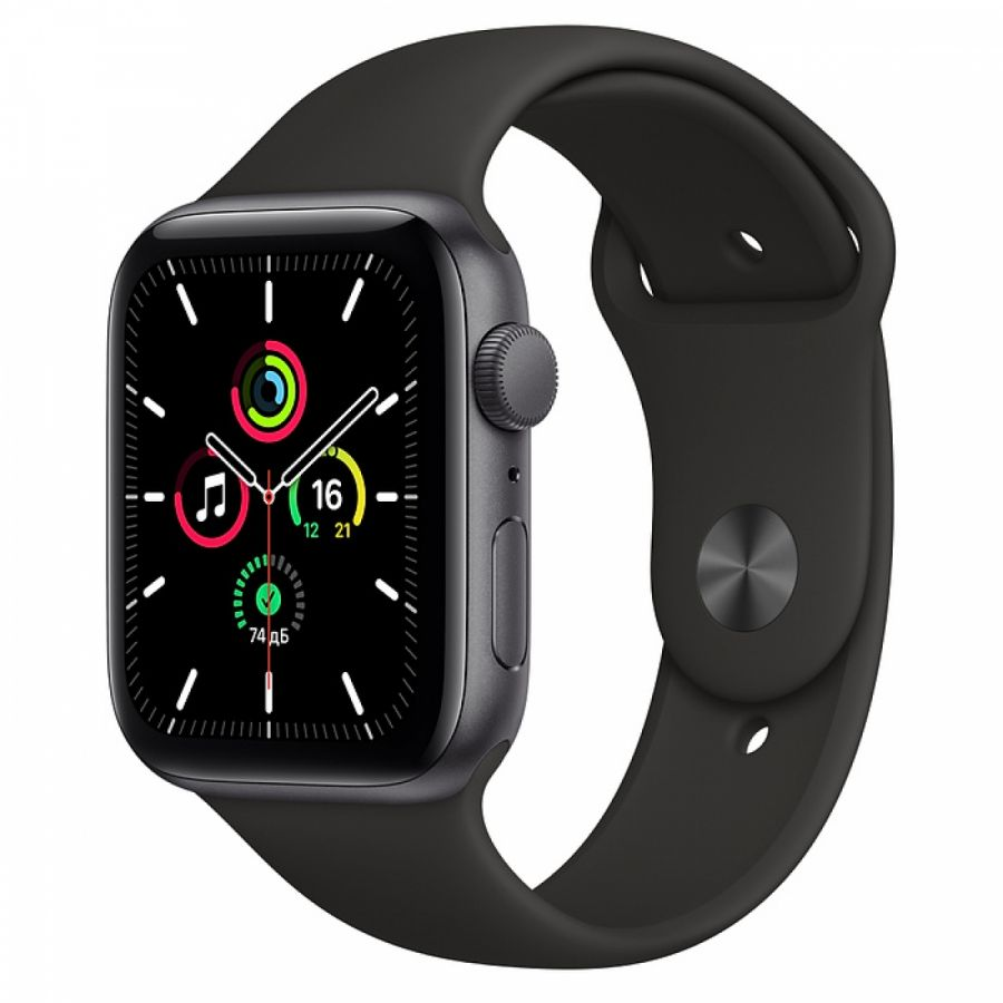 Apple Watch SE 44mm Space Black Aluminum Case with Nike Black Sport Band