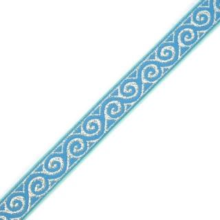Тесьма декоративная жаккардовая с люрексом (метанитом) 16 мм  (8681) голубой серебро