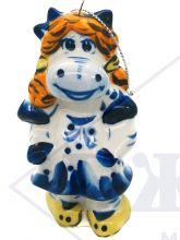 Ёлочная игрушка Коровка в платьице цвет Гжель.