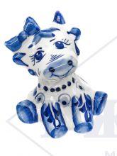 Корова Манюня Гжель  6х4х3,5см. Символ 2021 года. Авторская работа