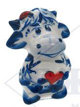Корова Влюбляша с красным сердцем 8х5,5х5см. Гжель Символ года 2021