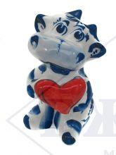 Бычок Гжель Амурчик (красное сердце)  8х5х4,5см.