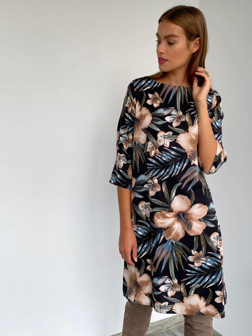 s3045 Платье-трапеция с цветочным дизайном