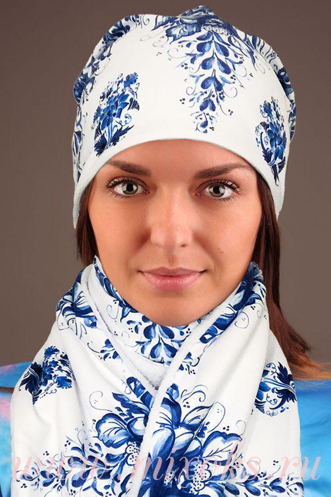 """Флисовый шарф """"Гжель с цветами"""""""