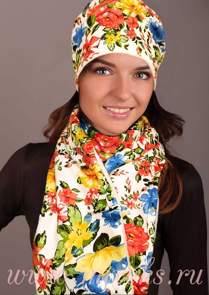 """Белый шарф """"Русские узоры"""""""