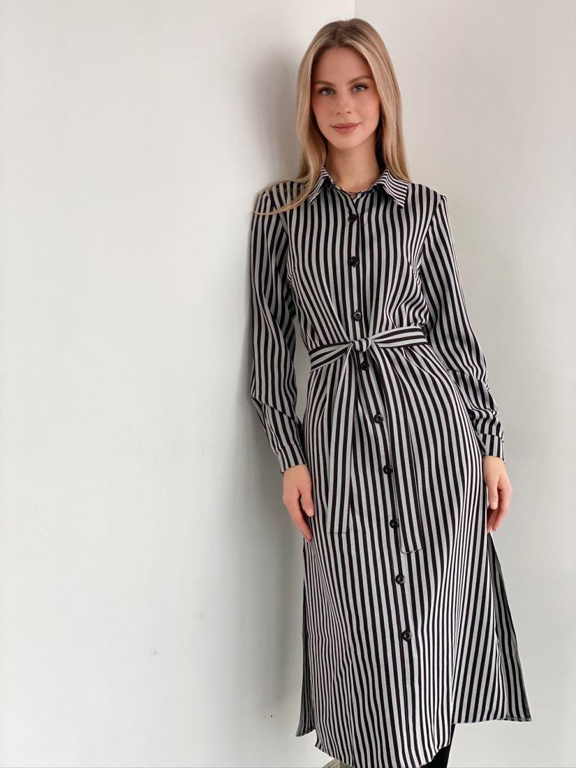 s1749 Платье-рубашка в полоску-ёлочку